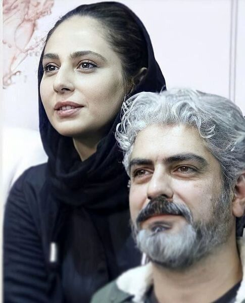 مهدی پاکدل در کنار همسر دومش